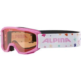 Alpina Piney Occhiali Maschera Bambino, bianco/rosa